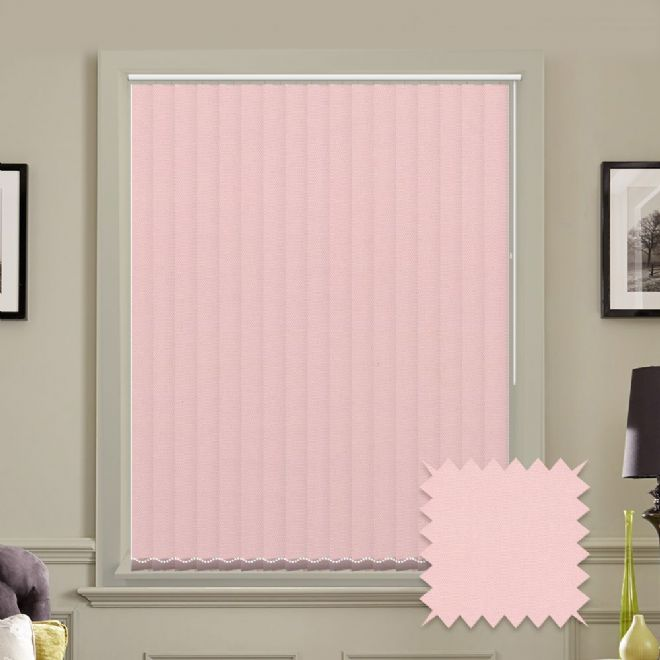Made to measure vertical blinds in Carnival Blush plain fabric - Just Blinds